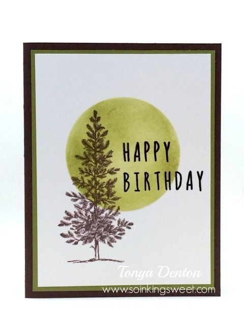 Happy Birthday Card, Lovely As a Tree, hand stamped, #tonyadenton #soinkingsweet