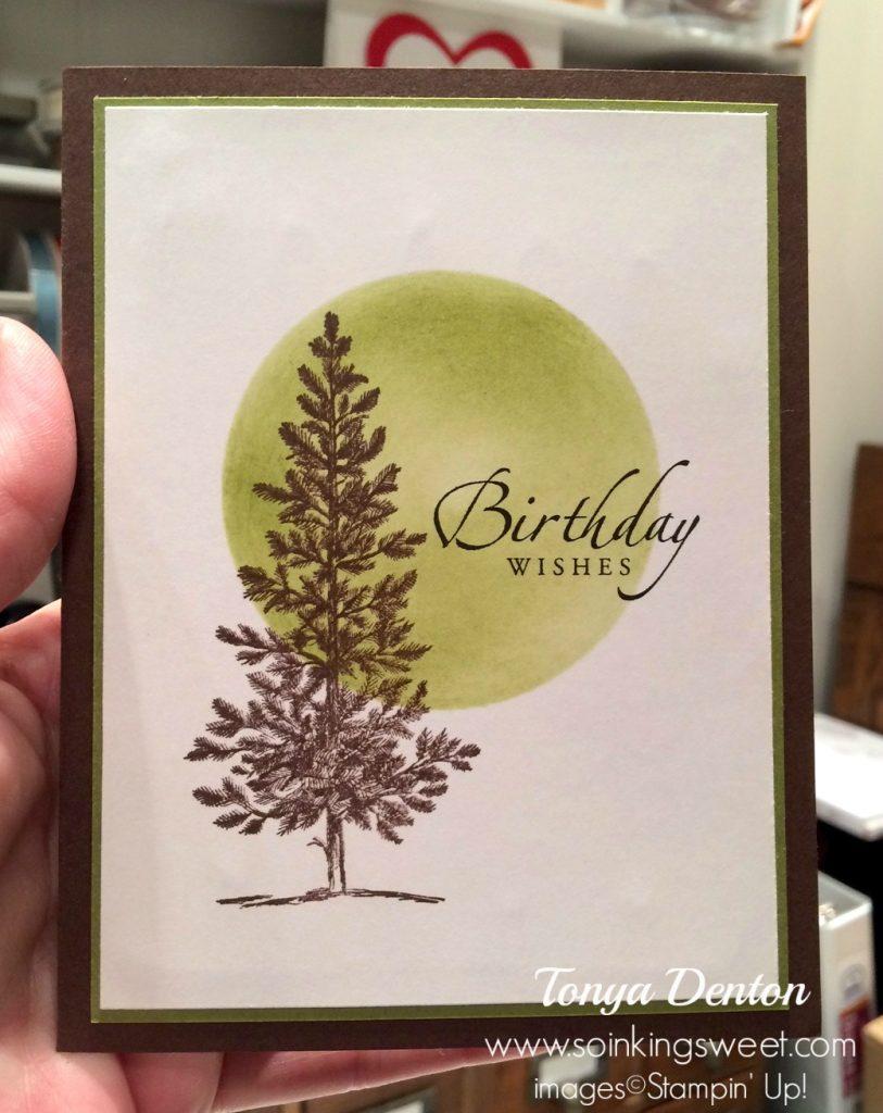 Happy Birthday Card, Lovely As a Tree, hand stamped, #tonyadenton #soinkingsweet